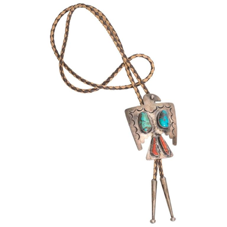 1950s Eagle Motif Southwest Bolo Tie with Turquoise and Coral