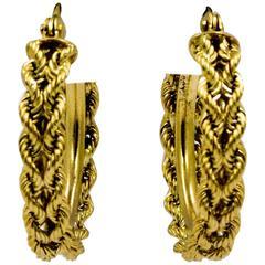 Double Gold Rope Hoop Earrings