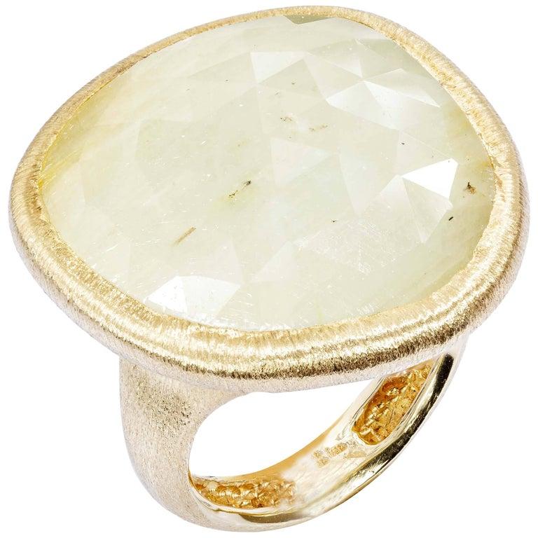 Yvel Green Sapphire Ring 30 Carat 18 Karat Yellow Gold Size 6.75 R-1-SAMIX142Y