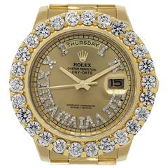 Rolex Yellow Gold Day Date II Diamond Dial Automatic Wristwatch