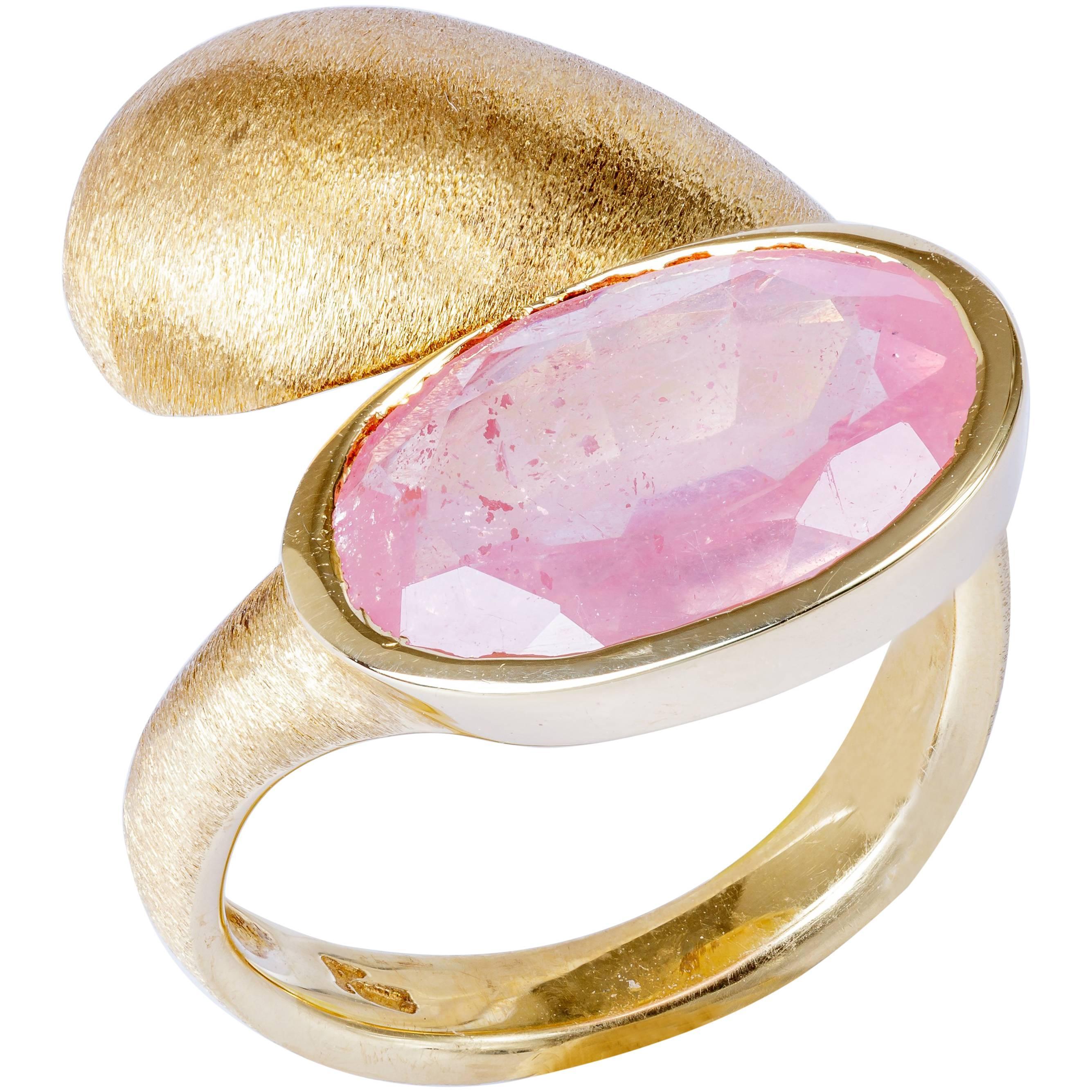 Yvel Pink and Green Sapphire Ring Diamonds and 18 Karat Gold 1.68 ...