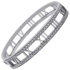 Tiffany & Co. 0.91 Carat Diamond White Gold Atlas Bangle Bracelet