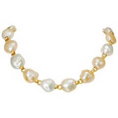 Yvel Multicolored Baroque Pearl Strand Necklace 18 Karat Yellow Gold
