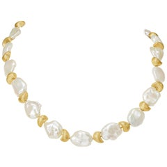 Yvel Freshwater Keshi Pearl Necklace Strand 18 Karat Yellow Gold