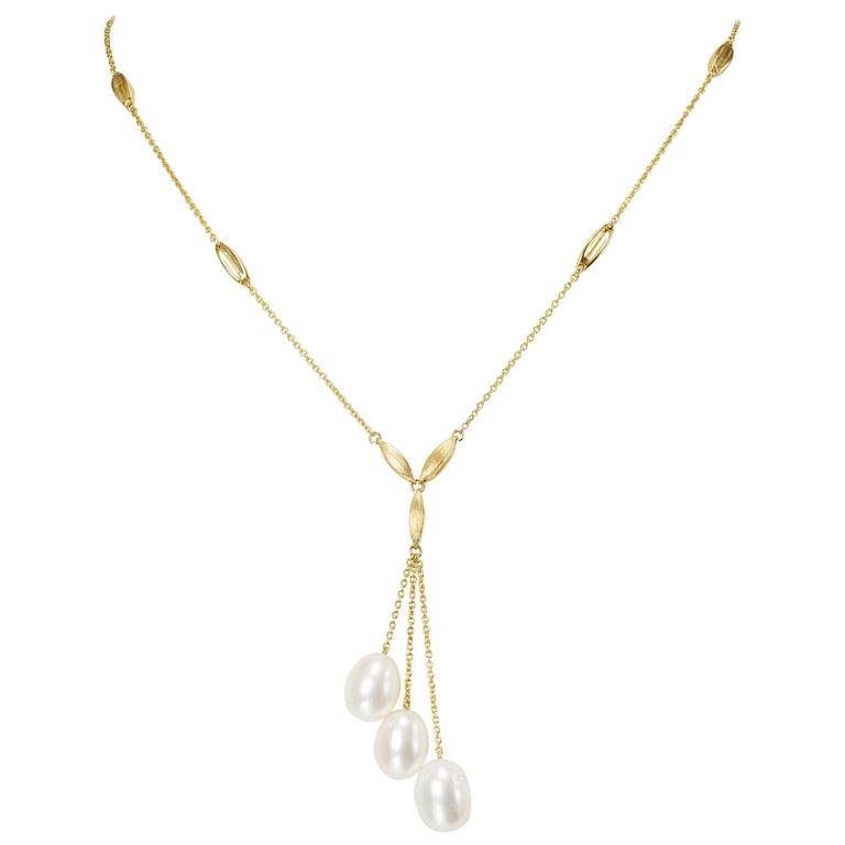 Yvel Freshwater 3 Keshi Pearl Drop Necklace Pendant 18 Karat Yellow Gold