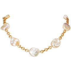 Yvel Freshwater Keshi Pearl Necklace Chain 18 Karat Rose Gold