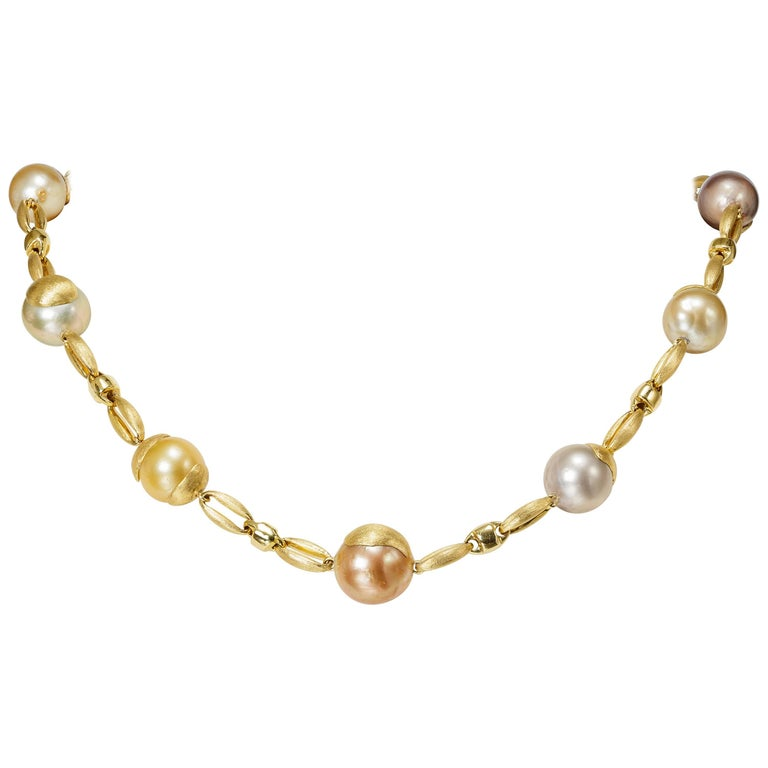 Yvel Multicolored South Sea Pearl Necklace 18 Karat Yellow Gold