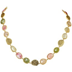 Yvel Multicolored Sapphire Necklace 18 Karat Yellow Gold 76.0 Carat