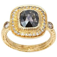 Square Rose Cut Champagne Diamond with White Diamond Bezel in Yellow Gold