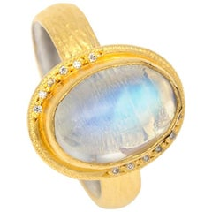 Oval Moonstone with Diamond Accents Ring in Gold Vermiel