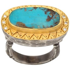 Turquoise in Gold Bezel and Diamonds on Sterling Silver Ring