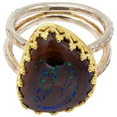Boulder Opal Sterling Silver Gold Ring