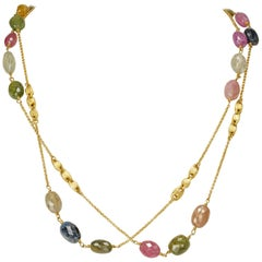 Yvel 18 Karat Yellow Gold Natural Color Sapphire Bead Necklace 93.0 Carat