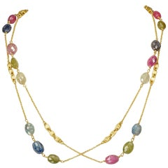 Yvel Colored Sapphire Bead Necklace 36 Inches 18 Karat Yellow Gold 106.00 Carat