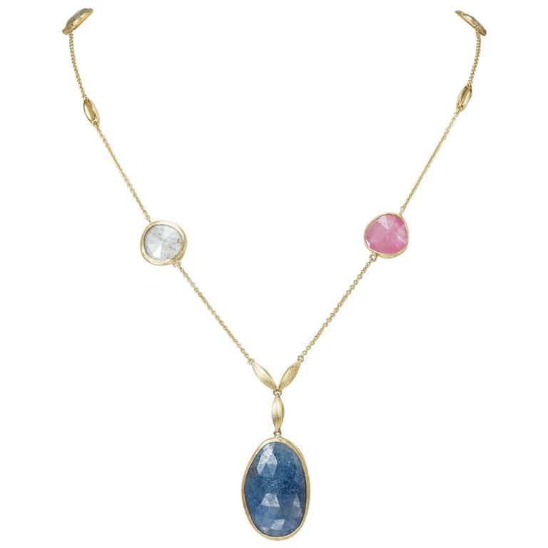 Yvette Necklace 5 Colored Sapphires Rose Cut 18 Karat Yellow Gold 28.00 Carat