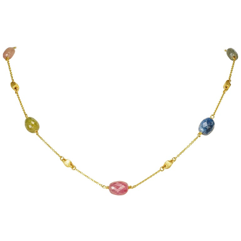 Yvel Beaded Necklace Colored Sapphire Rose Cut 18 Karat Yellow Gold 38.00 Carat
