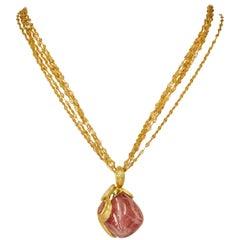 Yvel 18 Karat Gold Free-Form Natural Color Sapphire Pendant Necklace 90.0 Carat