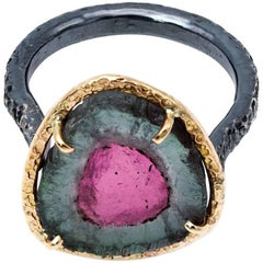 Pink and Green Watermelon Tourmaline Ring in Gold and Oxidized Sterling Silver