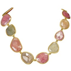 Yvel 18 Karat Yellow Gold Free-Form Natural Color Sapphire Necklace 360.0 Carat