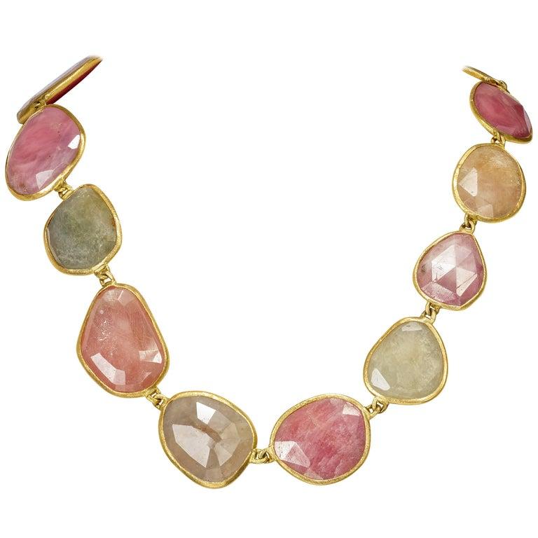 Yvel Large Colored Sapphire Necklace 18 Karat Yellow Gold 360.0 Carat
