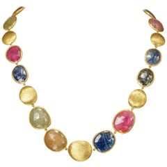 Yvel 18 Karat Yellow Gold Free-Form Natural Color Sapphire Necklace 114.0 Carat