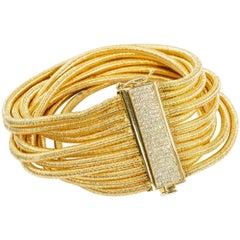 Yvel 18 Karat Yellow Gold 11 Strand Bracelet with Diamonds 1.10 Carat