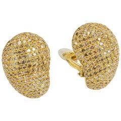 Yvel Earrings 18 Karat Yellow Gold Pavé Diamond Clip-On Post 7.78 Carat
