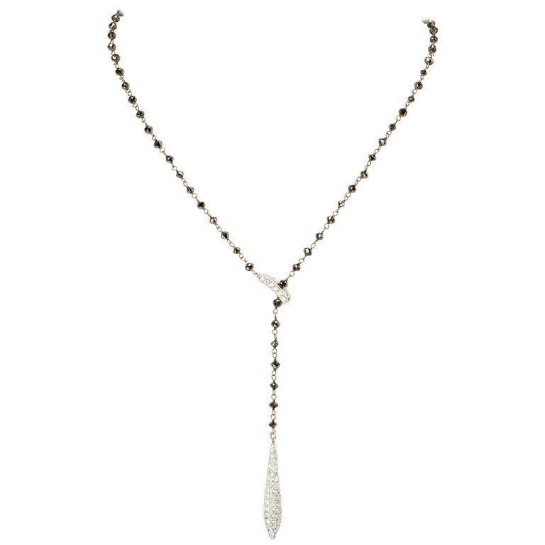 Yvel Lariat Necklace 18k White Gold, Black and Colorless Diamond 4.98 ct