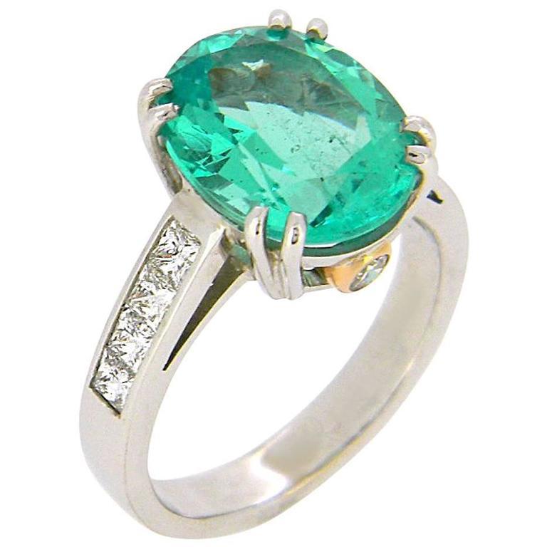 4.66 Carat Emerald Diamond White and Rose Gold Ring