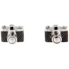 Jona Solid Sterling Silver Camera Cufflinks