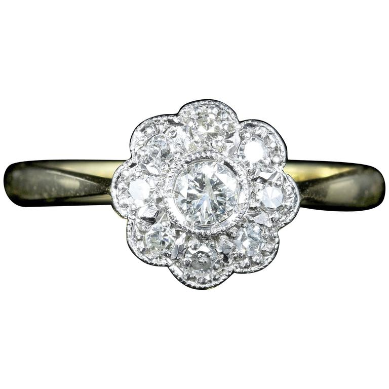 Antique Edwardian Diamond Gold Platinum Cluster Ring