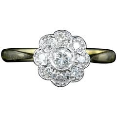 Antique Edwardian Diamond Gold Platinum Cluster Ring