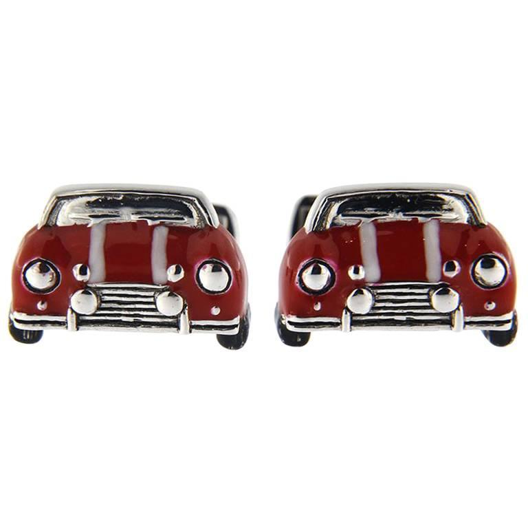 Jona Sterling Silver Red and White Enamel Classic Mini Car Cufflinks For Sale