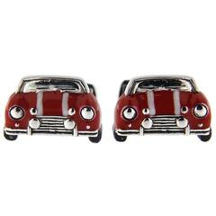 Jona Sterling Silver Red and White Enamel Classic Mini Car Cufflinks