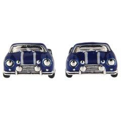 Jona Sterling Silver Blue and White Enamel Classic Mini Car Cufflinks