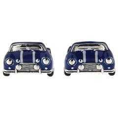 Jona Sterling Silver Blue and White Enamel Classic Mini Car Cufflinks