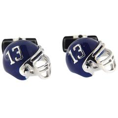 Jona Sterling Silver American Football Helmet Cufflinks