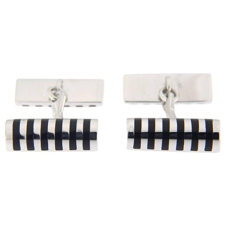 Jona Black Enamel Sterling Silver Cufflinks For Sale