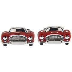 Jona Sterling Silver Red Enamel Classic Convertible Car Cufflinks