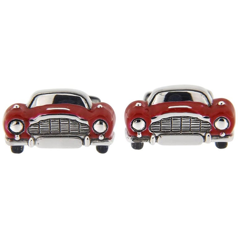 Jona Sterling Silver Red Enamel Classic Convertible Car Cufflinks For Sale