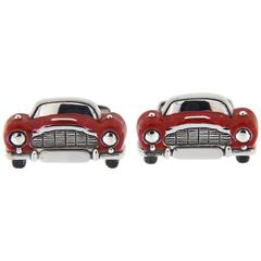 Jona Sterling Silver Red Enamel Classic Convertible Car Cufflinks