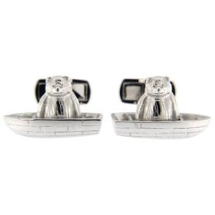 Jona Sterling Silver Bear on Boat Cufflinks