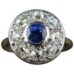 Art Deco Sapphire Diamond Gold Platinum Cluster Ring, circa 1920