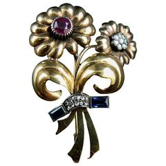 French Liberation Silver Gold Bunch Brooch, circa 1945