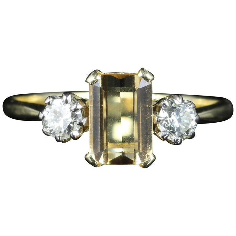antique edwardian yellow sapphire gold ring for