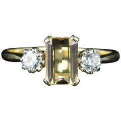 Antique Edwardian Yellow Sapphire Diamond Gold Ring