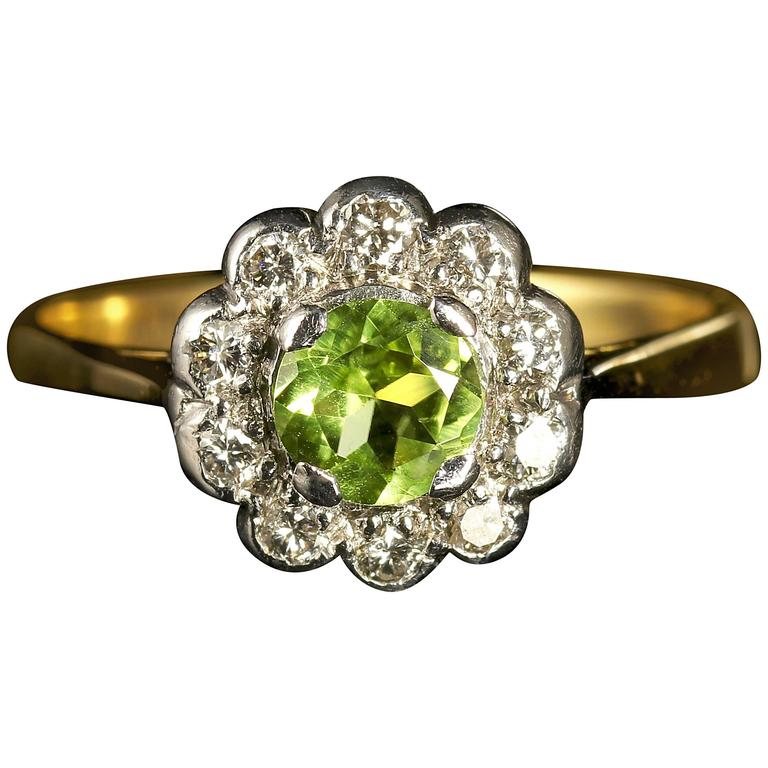 antique peridot gold cluster engagement