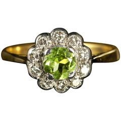 Antique Victorian Peridot Diamond Gold Cluster Engagement Ring