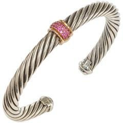 David Yurman Sterling Silver Rose Gold Pink Sapphire Cable Classic Bangle