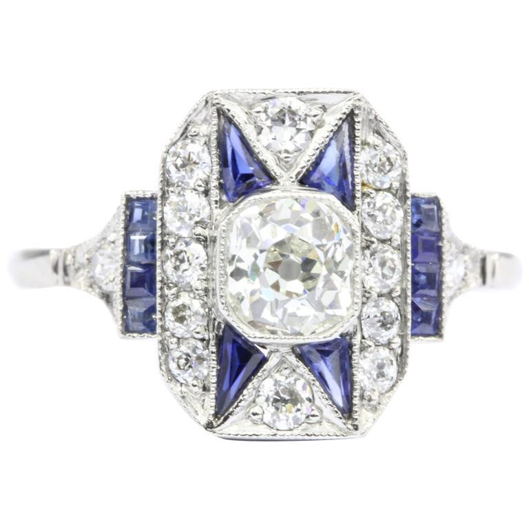 Art Deco Sapphire Old Mine Diamond Platinum Filigree Ring, circa 1920